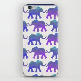 Follow The Leader - Painted Elephants in Royal Blue, Purple, & Mint iPhone Skin