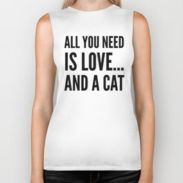 ALL YOU NEED IS LOVE... AND A CAT (Brown) Biker Tank