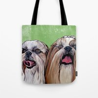 shih tzu Tote Bags featuring Shih Tzu Dog Art by WOOF Factory