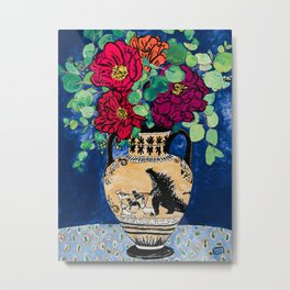 Bright Peony Rose Bouquet in Grecian Urn with Godzilla Walking French Bulldogs Painting Metal Print