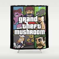 grand theft auto Shower Curtains featuring Grand Theft Mushroom by Ben Clark