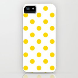Polka Dots - Gold Yellow on White iPhone Case