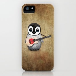Baby Penguin Playing Japanese Flag Acoustic Guitar iPhone Case