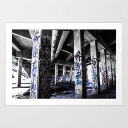 Dynamic Blue Graffiti Art Print