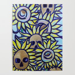 S is for Sunflowers and Skulls Poster