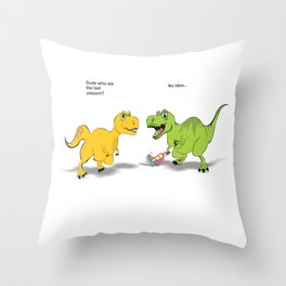 Did You Eat The Last Unicorn Funny Dinosaur TRex product Throw Pillow