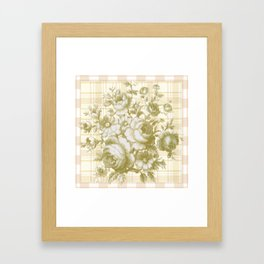 Vintage Rose on Plaid Framed Art Print