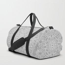 White Mandala on Grey Linen Duffle Bag