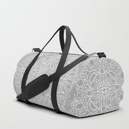 White Mandala on Grey Linen Duffle Bag
