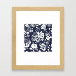 Summer Garden Indigo Floral Pattern Framed Art Print