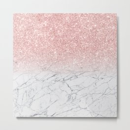 Elegant Chic Pink Glitter Gray White Marble Gradient Metal Print