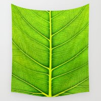 leaf Wall Tapestries featuring Leaf by Patterns and Textures