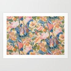 Victorian Birds and Flowers Art Print