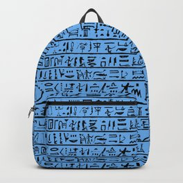 Egyptian Hieroglyphics // Blue Backpack