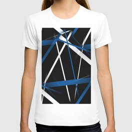 Seamless Blue and White Stripes on A Black Background T-shirt