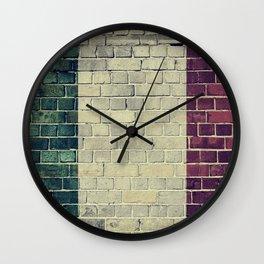 Vintage Italy flag on a brick wall Wall Clock