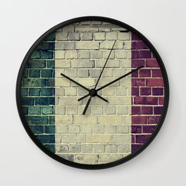 Vintage Italy flag on a brick wall Wall Clock