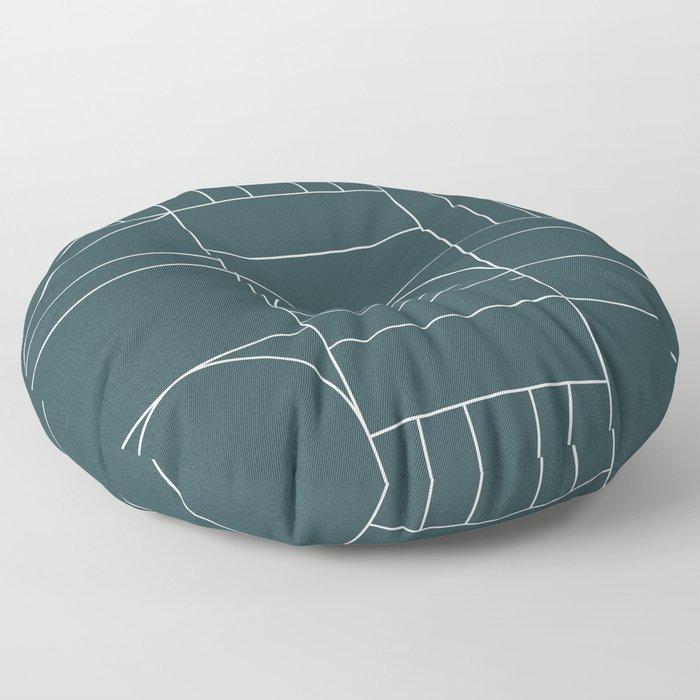 Deco Geometric 04 Teal Floor Pillow