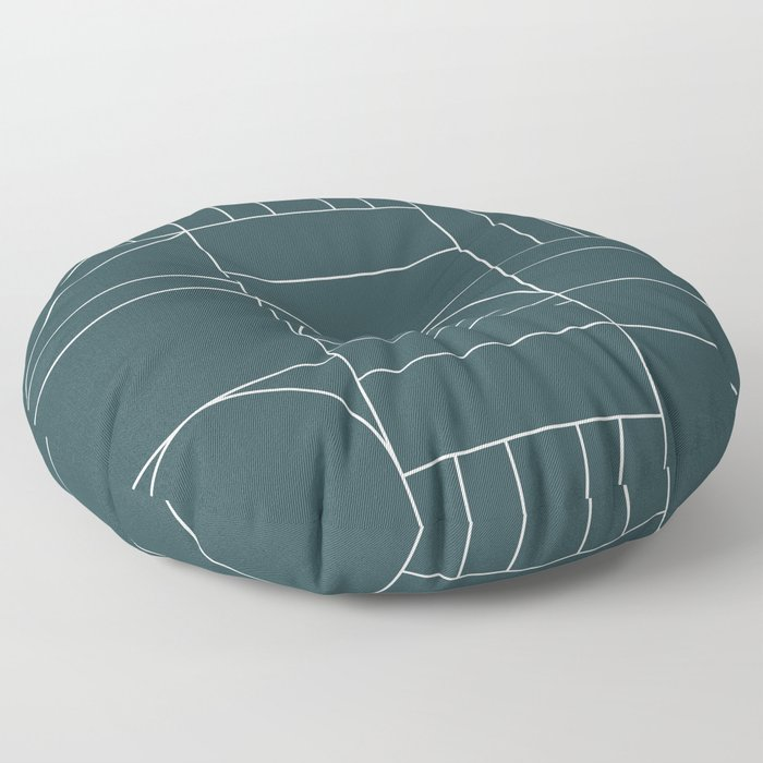 Deco Geometric 04 Teal Floor Pillow