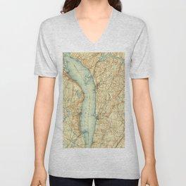 Vintage Map of Tarrytown NY & The Hudson River Unisex V-Neck
