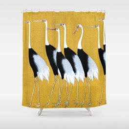 Flock of Japanese red crown crane by Ogata Korin Shower Curtain