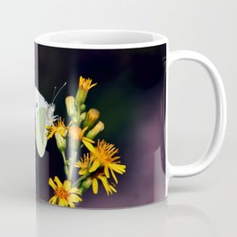 White Butterfly on Yellow Flowers Coffee Mug