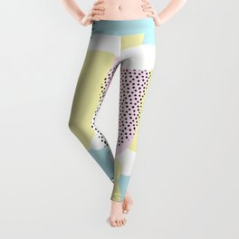Candy Pink Blue Blobs & Dots Pattern Leggings