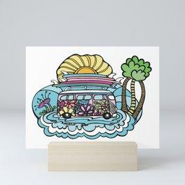 Hippie Chick Surf Bus Mini Art Print