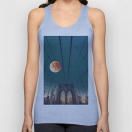 Blood Moon over the Brooklyn Bridge and New York City Skyline Unisex Tank Top