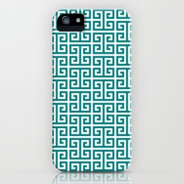 Teal and White Greek Key Pattern iPhone Case