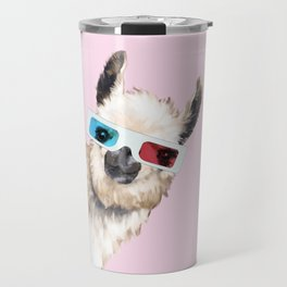 Sneaky Llama with 3D Glasses in Pink Travel Mug