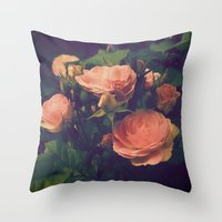 antique Throw Pillows featuring Antique Rose by A Wandering Soul