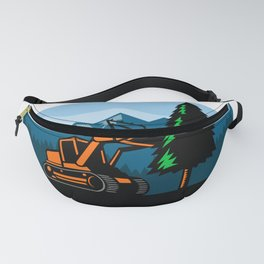 Forestry Mulcher Tearing Tree Oval Retro Fanny Pack