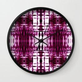 Black Cherry Plaid Shibori Wall Clock