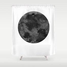 Full Moon, Planet,  Watercolour Art Shower Curtain