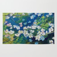 cherry blossoms Area & Throw Rugs featuring Cherry Blossoms by Michael Creese