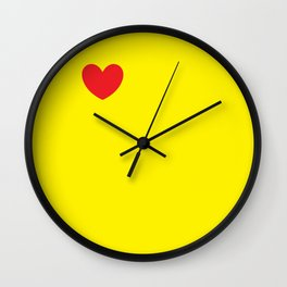 Red heart in yellow Wall Clock