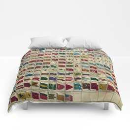 Vintage Naval Flags of The World Illustration Comforters