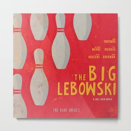 The Big Lebowski - Movie Poster, Coen brothers film, Jeff Bridges, John Turturro, bowling Metal Print