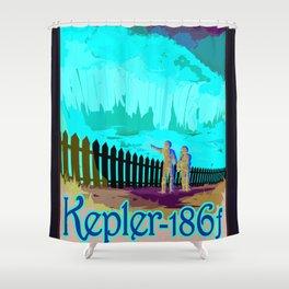 Kepler-186f - NASA Space Travel Poster (Alt) Shower Curtain