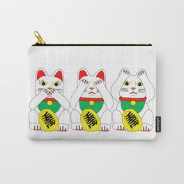Three Wise Lucky Cats Carry-All Pouch