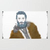 beard Area & Throw Rugs featuring beard by katiwo