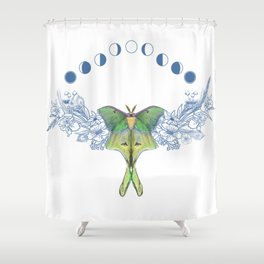 Luna moth moon phase Shower Curtain
