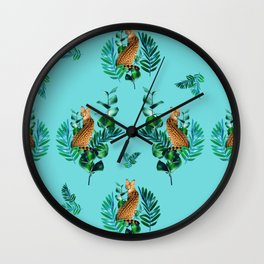 Tropical Leaf Clouded Leopard Pattern Turquoise BG Wall Clock