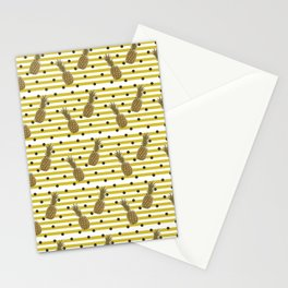 Fun with Pineapples -dots stripes Stationery Cards