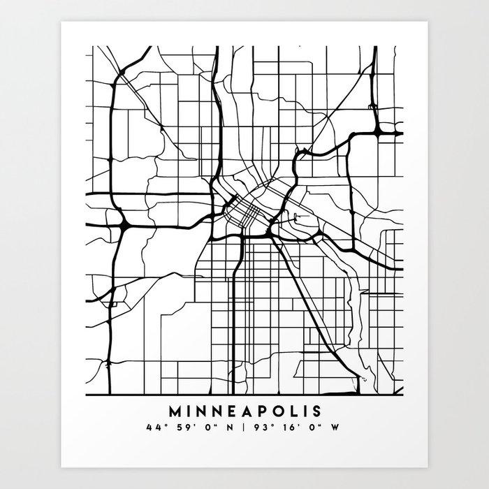 MINNEAPOLIS MINNESOTA BLACK CITY STREET MAP ART Art Print by deificusart
