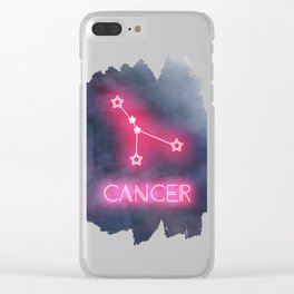 Neon Cancer Constellation Clear iPhone Case