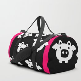 Pigs Will Fly - white on black Duffle Bag