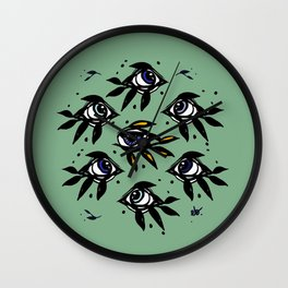 Evil eye _ intuition awakening_Hand Painted ink Wall Clock