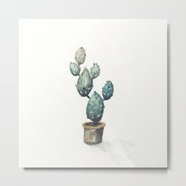 Green-Blue Cactus Metal Print